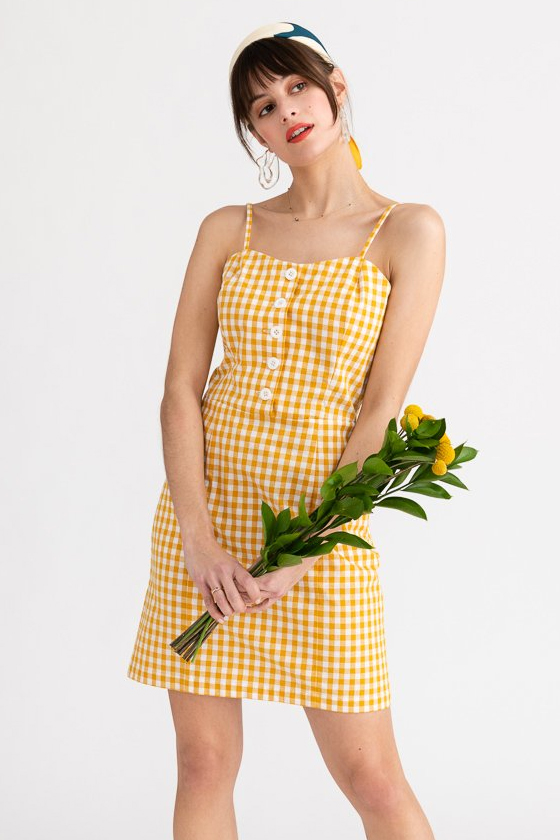 Petite Studio NYC Lola Dress Yellow Gingham (starts in xxs)