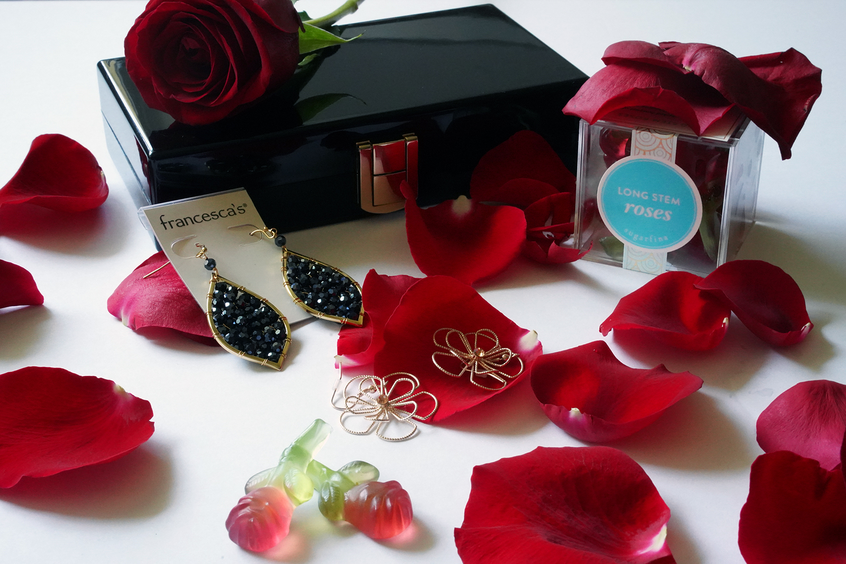 Sugarfina Long-Stem Roses, Francesca's Ramona Wire Flower Earrings and Francesca's Aria Beaded Drop Earrings In Navy