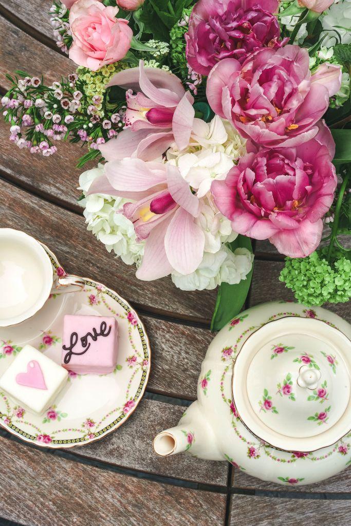 Gracie China by Coastline Imports Pink Petite Fleur Porcelain 2-Piece Snack Set