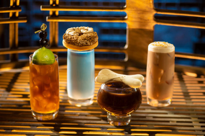 From left to right: Moogan Tea, Blue Bantha, Bloody Rancor (contains alcohol) and the Black Spire Brew can be found at Oga's Cantina inside Star Wars: Galaxy's Edge. (Photo by Kent Phillips, Disney Parks)