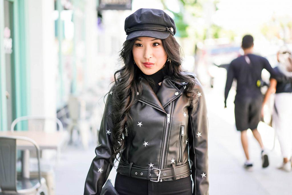 Star Wars Fashion Jacket, Star Embroidered Moto-Jacket Lydia by Superdown, WYETH Black Captain's Cap