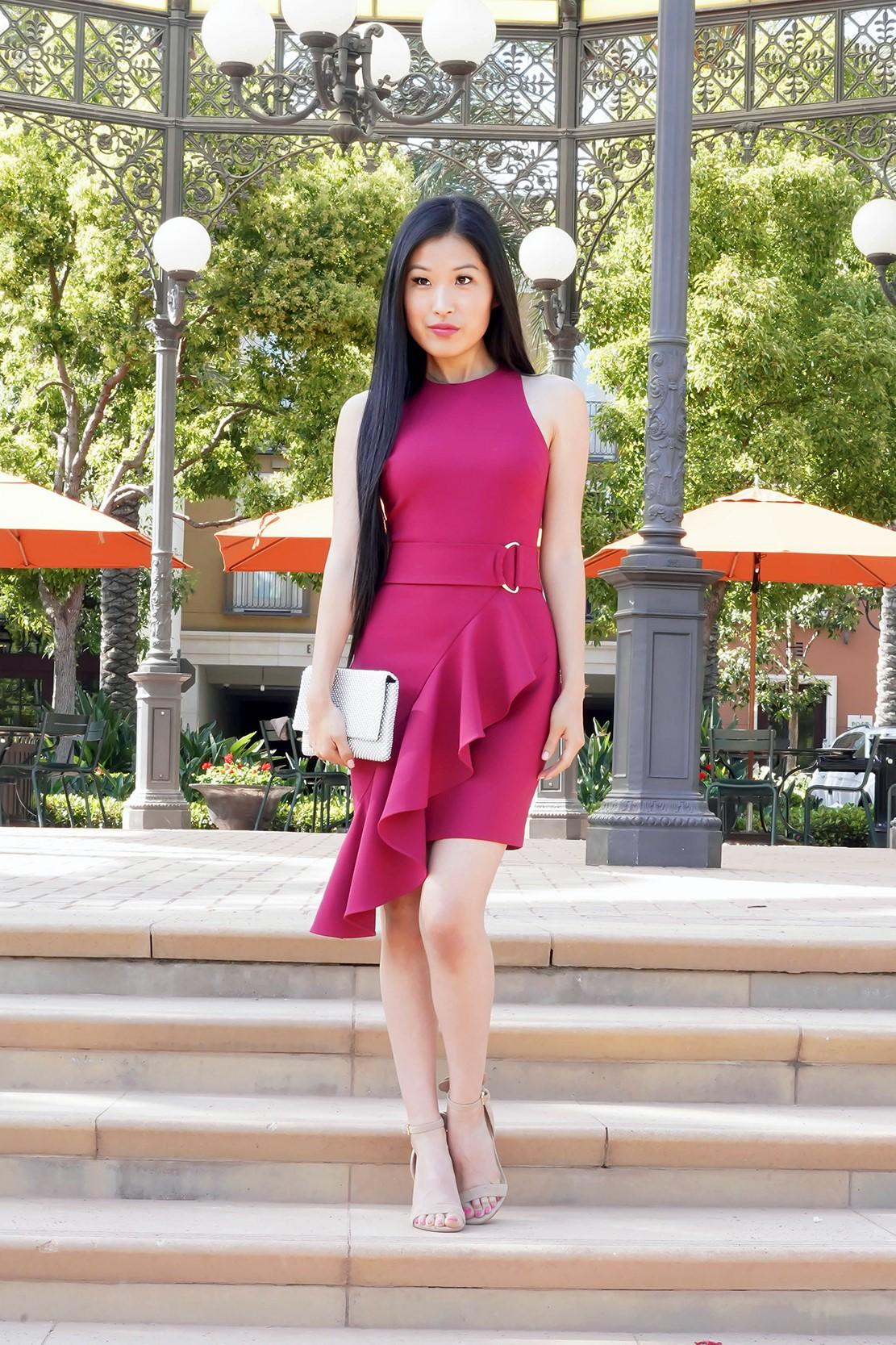 Likely Taryn Asymmetrical Ruffle Dress in rumba Red