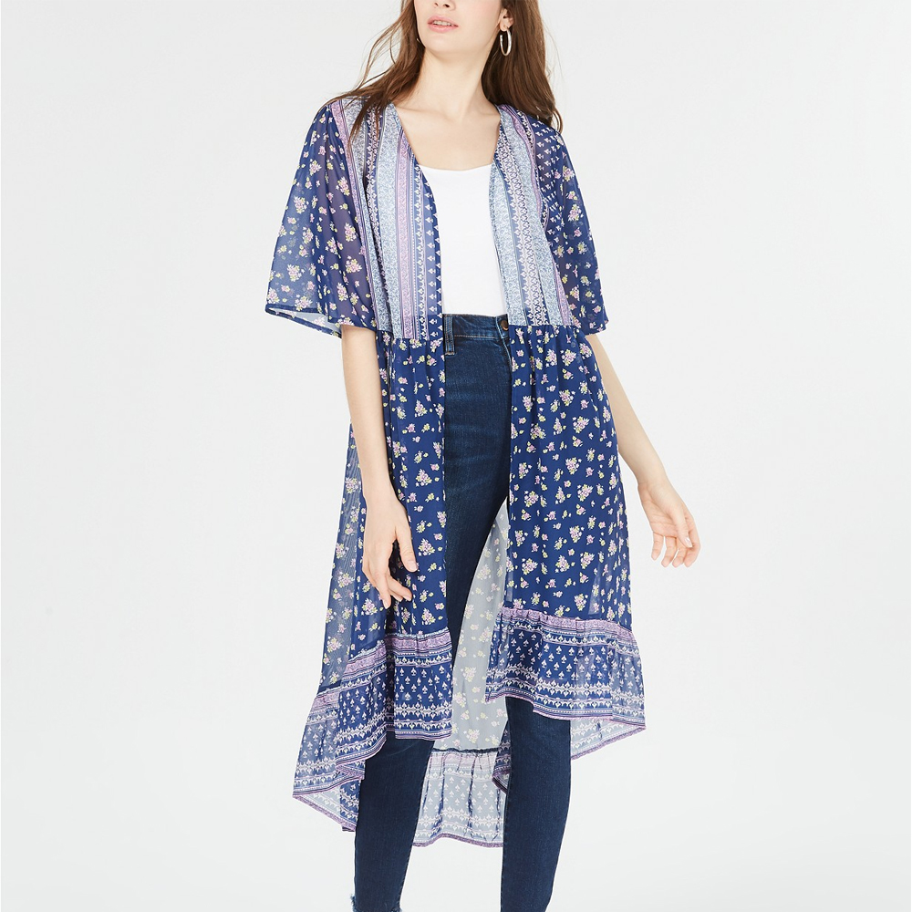 Ultra Flirt Juniors' High-Low Kimono In Navy Ditsy Color
