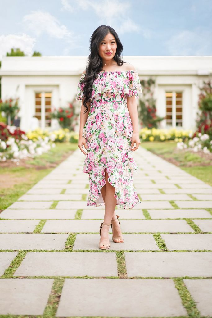 Huntington Gardens Rose Tea Room Exterior in Eliza Midi Tiered Floral Pink and Ivory Off the Shoulder Dress