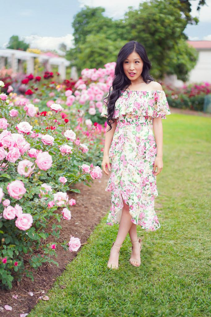 Huntington Gardens Rose Garden, WAYF Eliza Midi Tiered Pink Floral Ruffle Dress