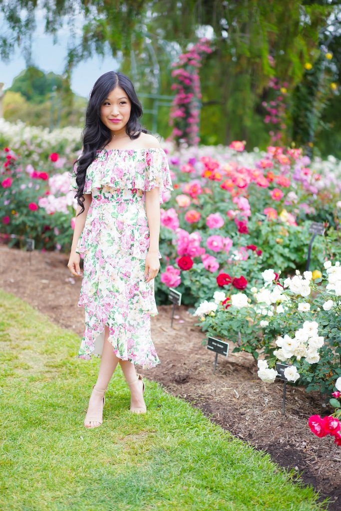 What to wear to tea party? Eliza Ruffle Midi Dress by WAYF at the Huntington Gardens Rose Garden in San Marino