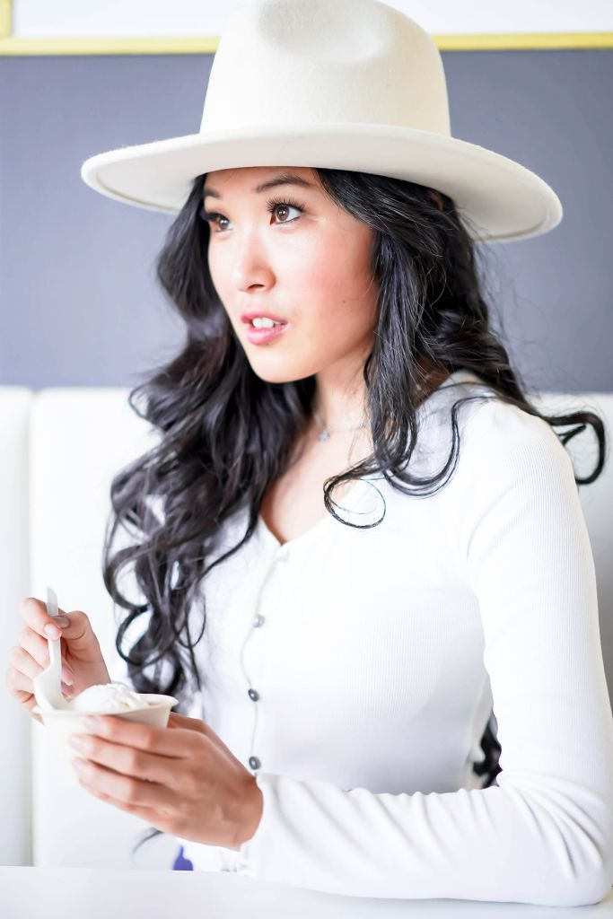 All White Brunch Ice Cream, Francesca's Taryn Lettuce Edge Button Down Top, Lack of Color Fader White Fedora, Kippy's Non-Dairy Organic Ice Cream