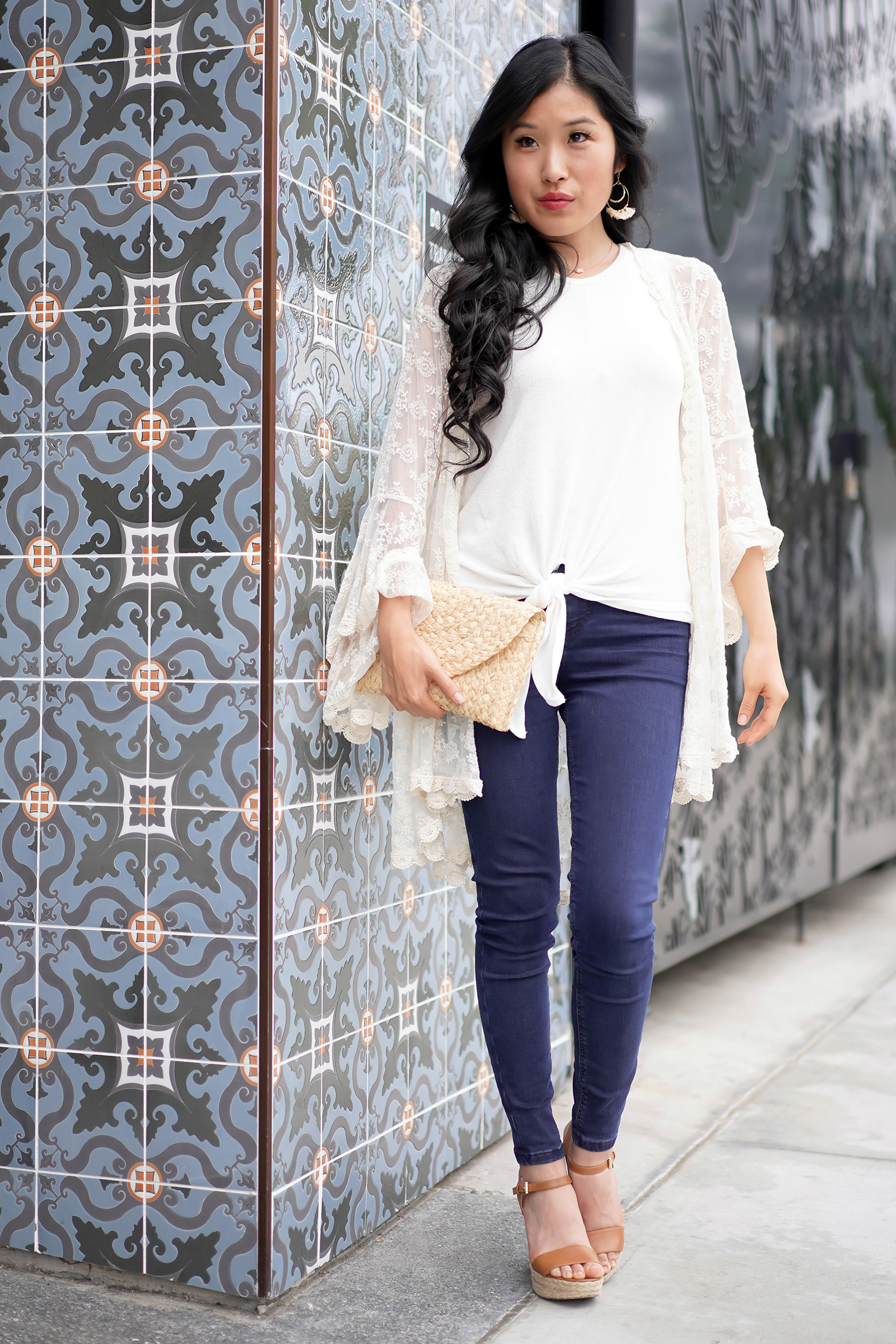 Francesca's Iris Bell Sleeved Lace Cardigan, Straw Clutch Target Universal Thread, Talia Tassel Earrings, Cassie Tie Front White Tank Top