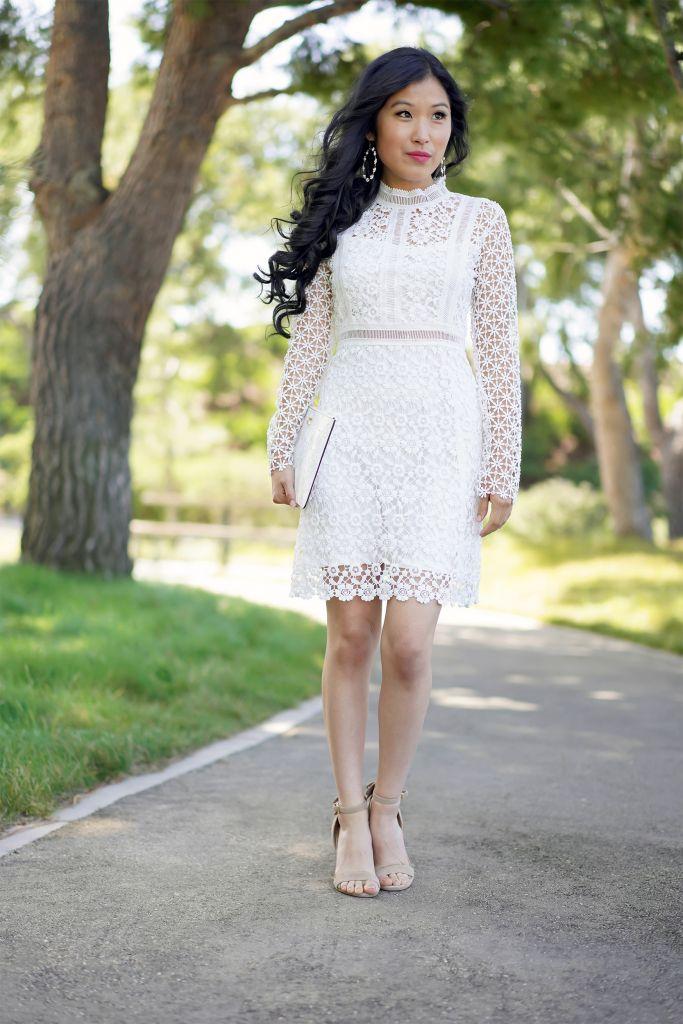 Chicwish Ladylike Floral Crochet Paneled Shift Dress in White, Francesca's Dana Open Beaded Hoop Earrings in White