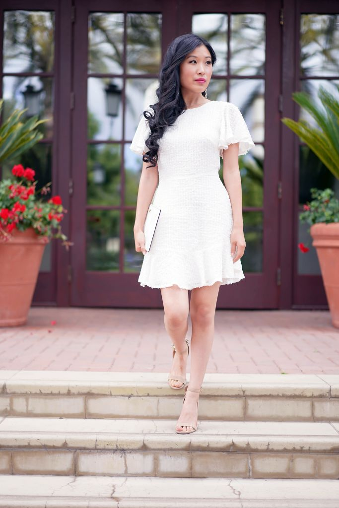 Selfie Leslie Isabelle Angel Sleeve Empire Dress White