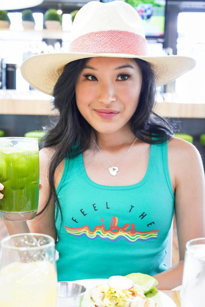 Target Feel the Vibes Teal Graphic Tank Top, Halogen Coral Straw Fedora, Shine Kindness Silver Necklace