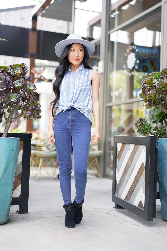 Tocaya Organica, Francescas Blue and White Stripe Button Down Melanie Top and WYETH Billie Sky Blue Fedora