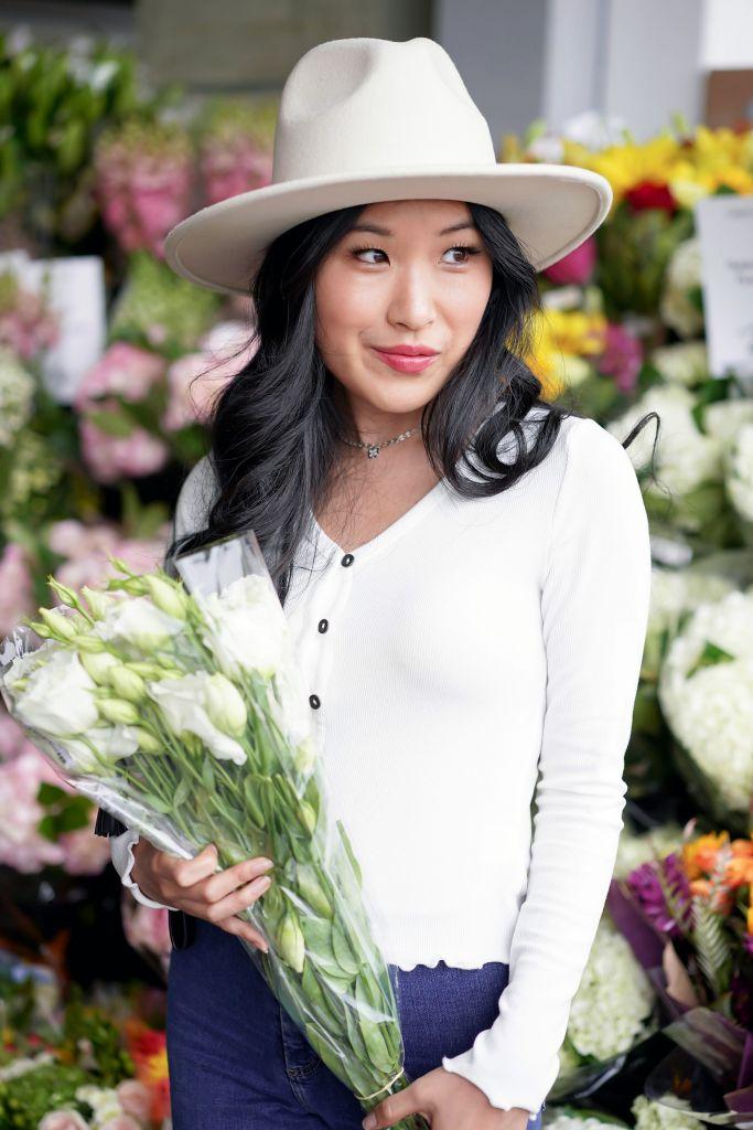 White Brunch Flowers, Francesca's Taryn Lettuce Edge Button Down Top, Lack of Color Fader White Fedora