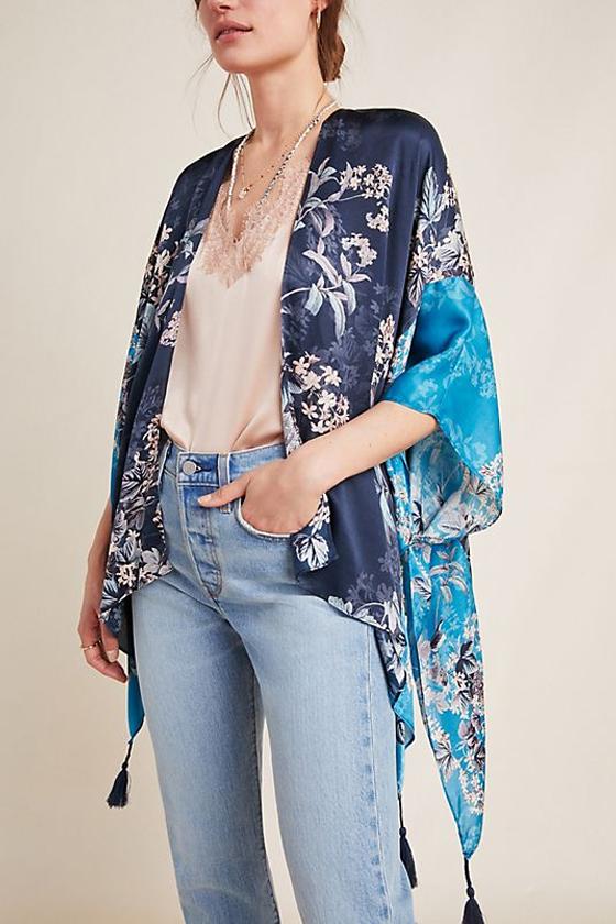 Anthropologie Kachel Jamie Silk Tasseled Kimono
