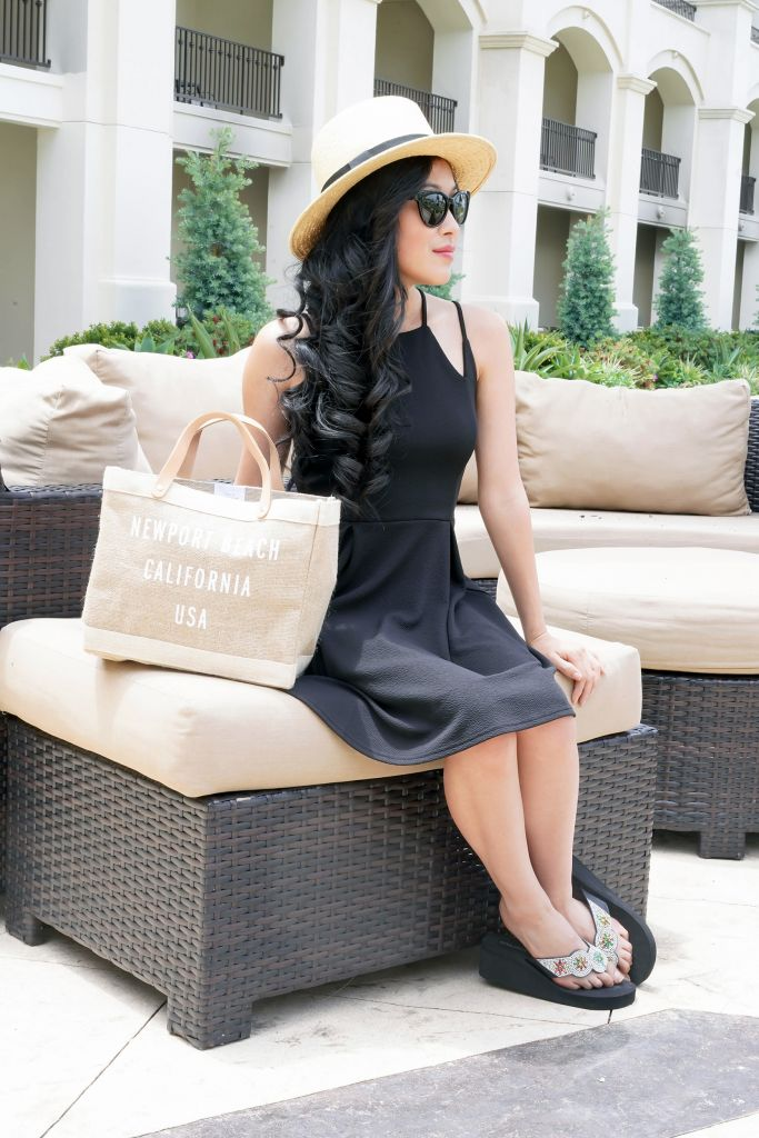 Black Fit and Flare Dress, Francesca's Sienna High Neck Black Dress, Apolis Market Canvas Bag