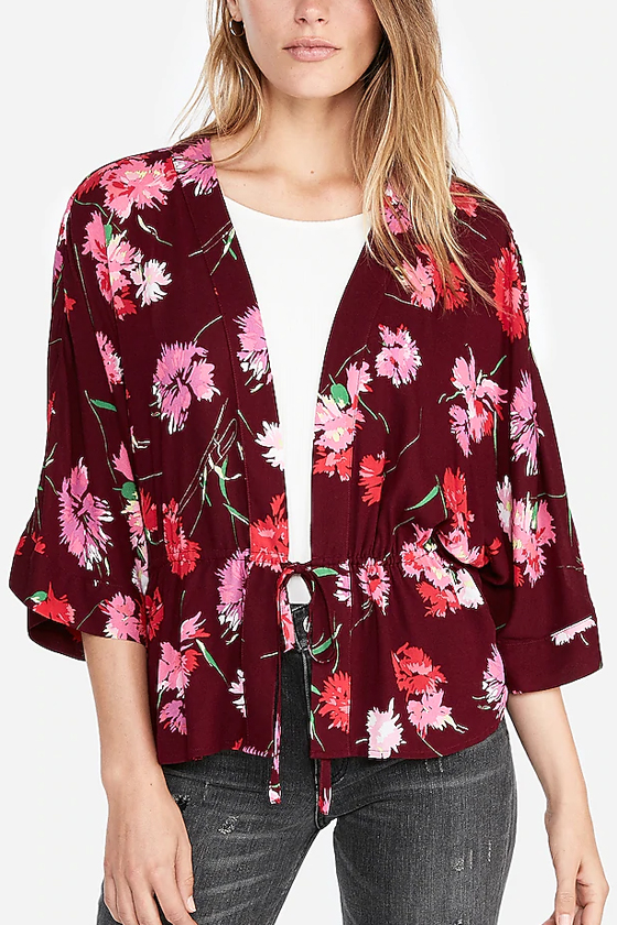 Express Floral Cinched Waist Kimono Sleeve Top (extra 50% off $29.99)