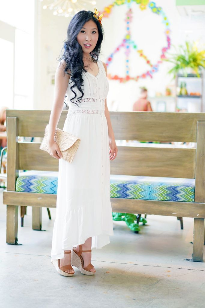 Flower Child Restaurant, American Rag Crochet-Trim High-Low Maxi Dress