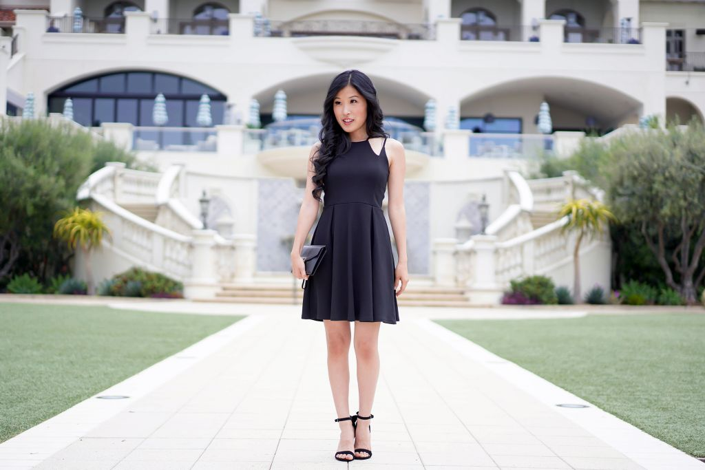 Francesca's Sienna High Neck Black Skater Dress, Fit and Flare Dress to wear to the theater