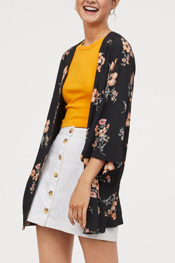 H&M Crêped Black Floral Kimono
