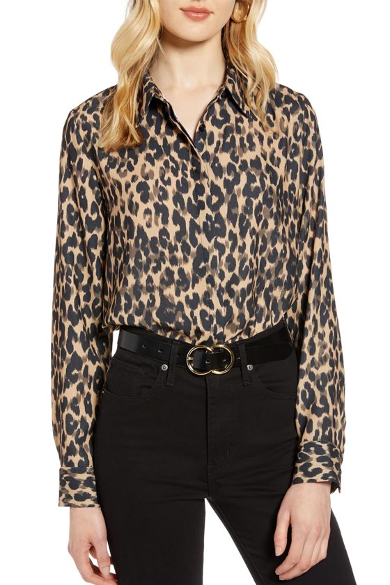 Halogen Taupe Animal Print Hidden Button Long Sleeve Blouse, Nordstrom's Anniversary Sale 2019 Animal Print Trend