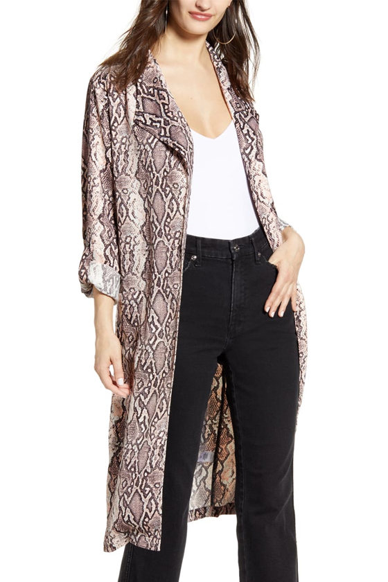 Leith Belted Trench Coat in Ivory Snakeskin Print, Nordstrom's Anniversary Sale 2019 Animal Print Trend