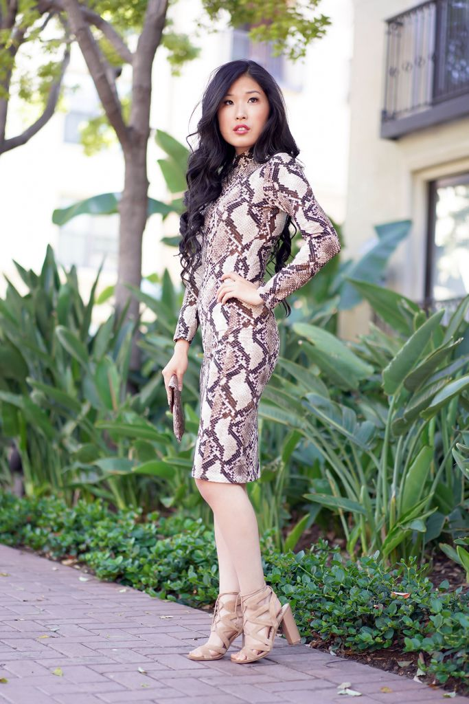Leith Snake Print Long Sleeve Body-Con Dress