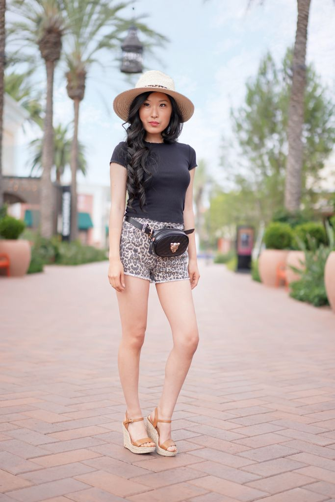 Kohl's Juniors' SO® Frayed Hem High Rise Leopard Shortie Shorts, Vince Camuto Banded Leopard Panama Hat, Free Press Leopard Belt Bag