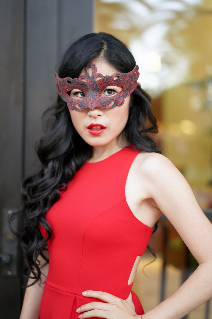 Red and Black Mask, Phantom of the Opera Masquerade Inspired, Bright Red Dress from JC Penney