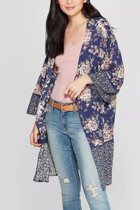 Target Know Rose Blue Lace-Up Back Kimono Jacket