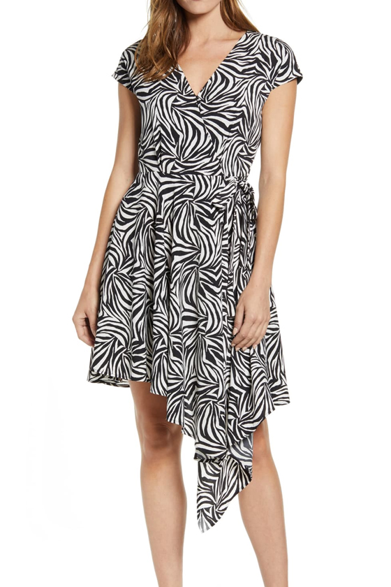 Vince Camuto Zebra Print Asymmetrical Wrap Dress in Rich Black, Nordstrom's Anniversary Sale 2019 Animal Print Trend