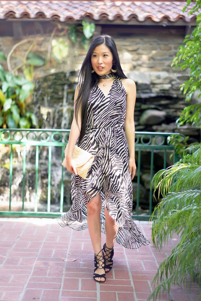 Animal Print Styled Dress, White House Black Market Petite Zebra High-Low Maxi Dress
