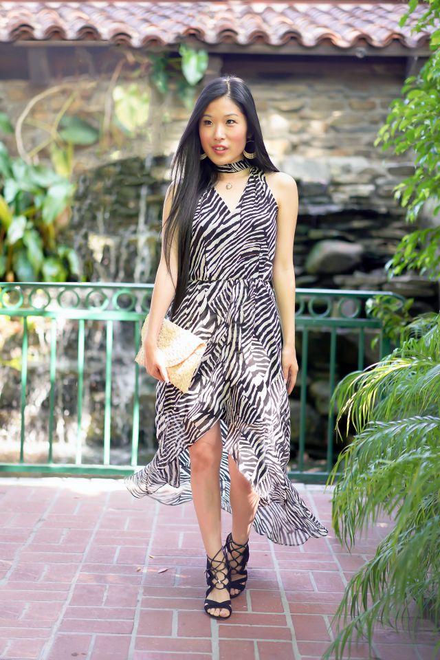 Animal Print Styled Dress, White House Black Market Petite Zebra High-Low Maxi Dress