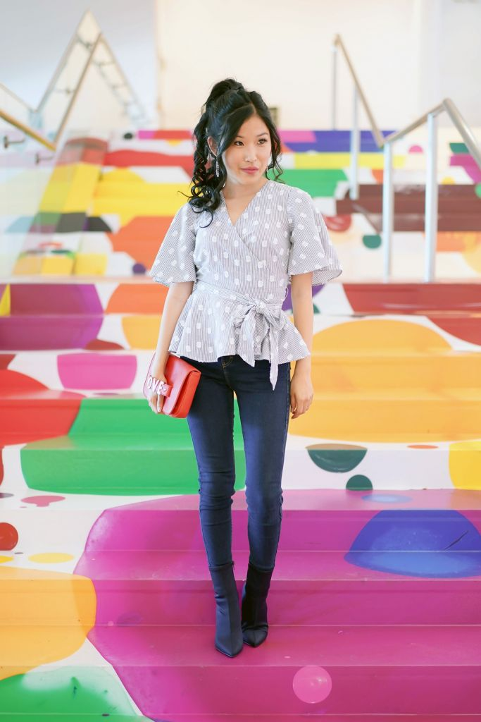 Hammer Museum Project: Colorful Lobby Painted Stairs by Yunhee Min, Loft Petite Dot Stripe Wrap Top