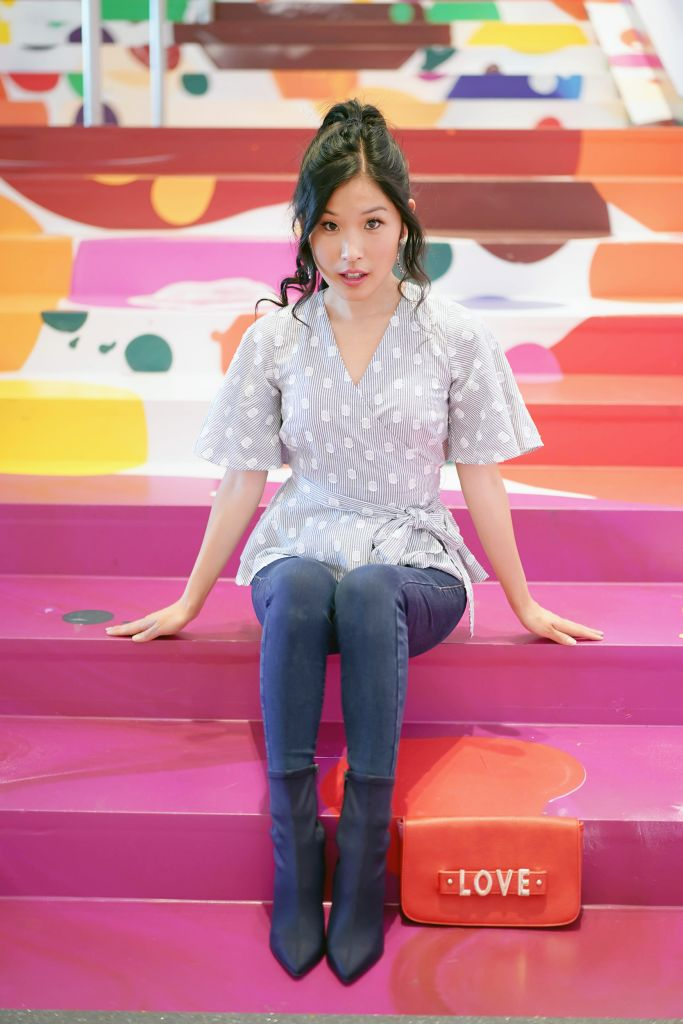 LOFT petite dot stripe wrap top, Hammer Museum Colorful Lobby Stairs