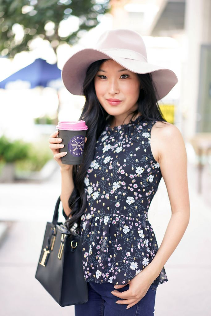 Nimbus Coffee, LOFT floral ruffle peplum shell top, Brixton lilac Ella Fedora
