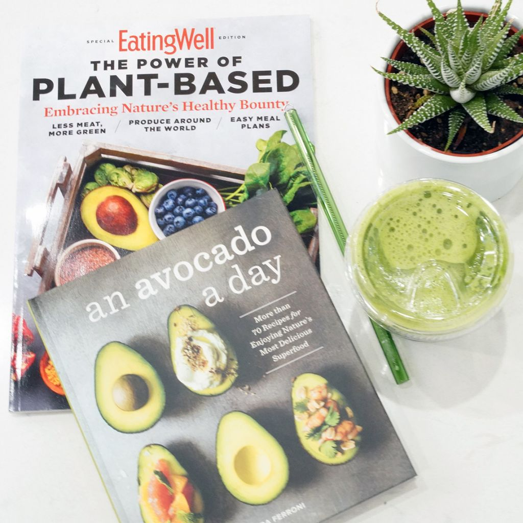 An Avocado a Day Book, Green Drink, Green Glass Straw. Eating Well Plant Based
