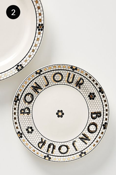 Anthropologie Bistro Tile Bread Plates, Set of Four in Black and White
