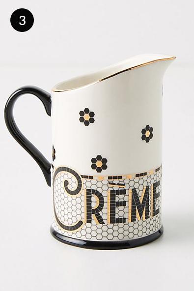 Anthropologie Bistro Tile De La Creme Creamer in Black and White