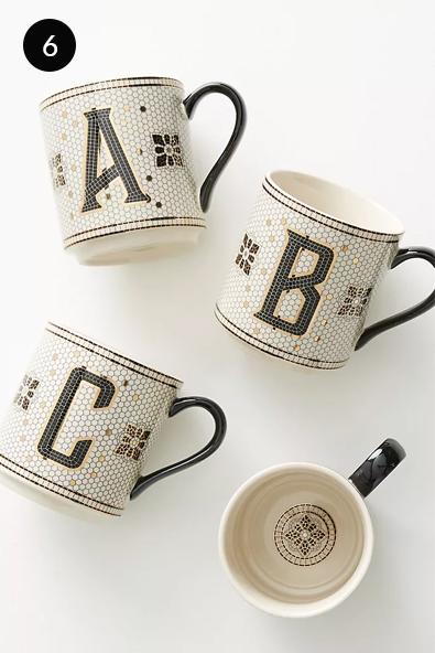 Anthropologie Bistro Tiled Margot Monogram Mug
