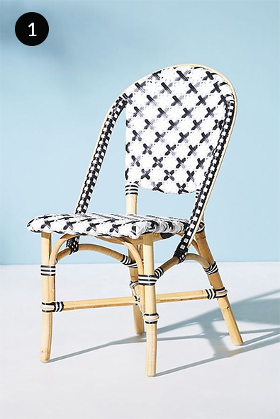 Anthropologie Bistro Woven Bistro Dining Chair in Black