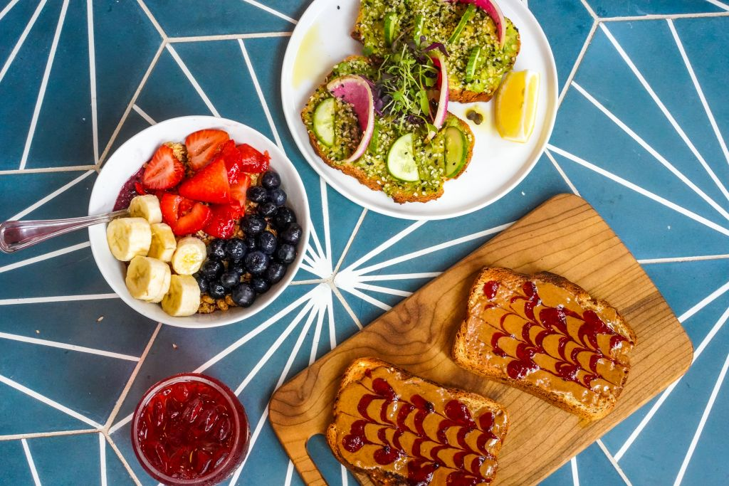 Better Buzz Coffee Food, Acai Bowl, Avocado Toast, Almond Butter and Jam Toast
