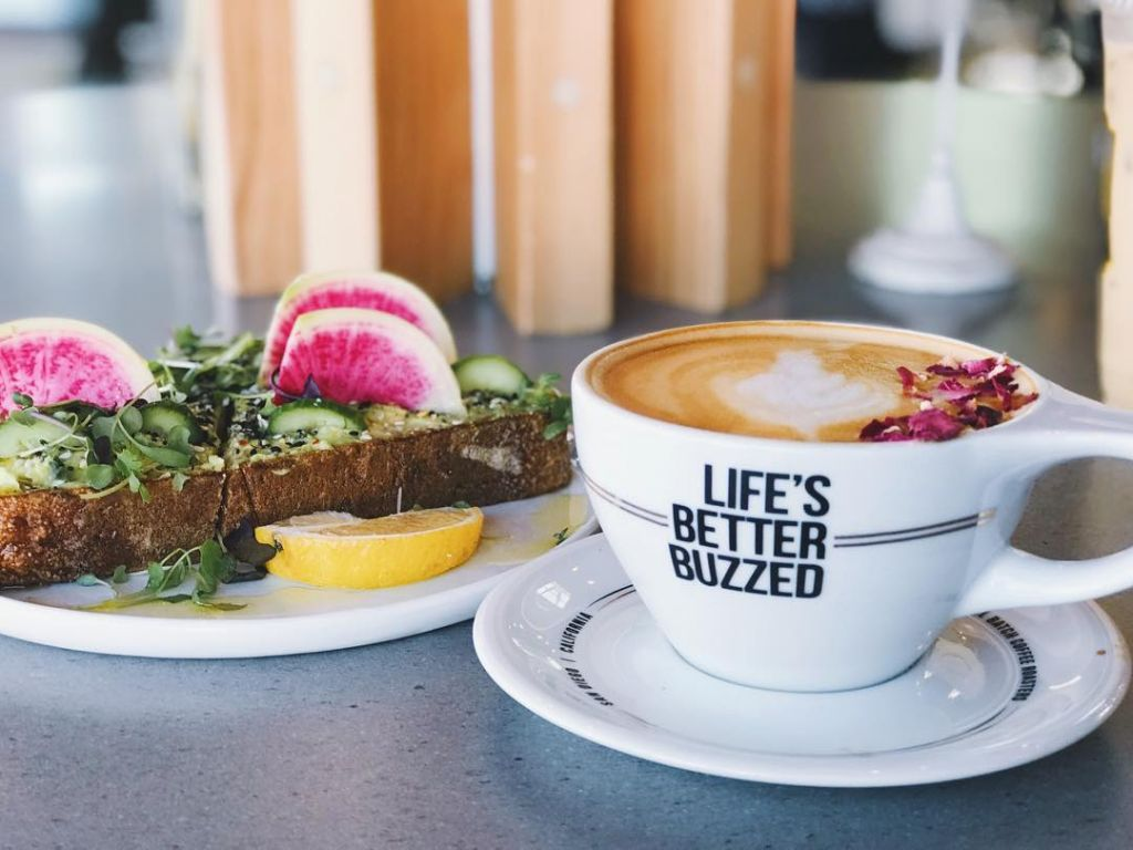 Better Buzz Coffee Avocado Toast and Rose Petal Latte