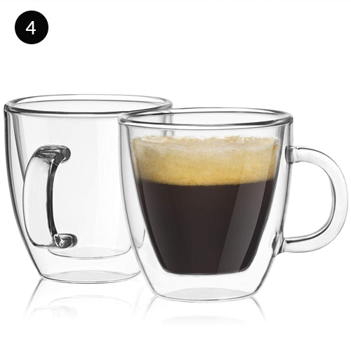 JoyJolt Savor Double Wall Insulated Glasses Espresso Mugs (Set of 2)