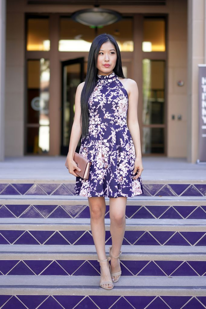 Outside Pasadena Playhouse Plaza, B Darlin Printed Mock-Neck Crochet-Trim Fit & Flare Dress in Navy and Cream