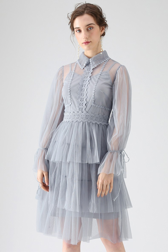 Chicwish Day Glow Tiered Mesh Dress in Dusty Blue