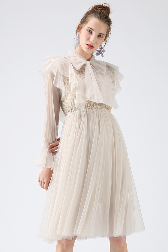 Chicwish Floral and Ruffle Bowknot Tulle Dress in Cream