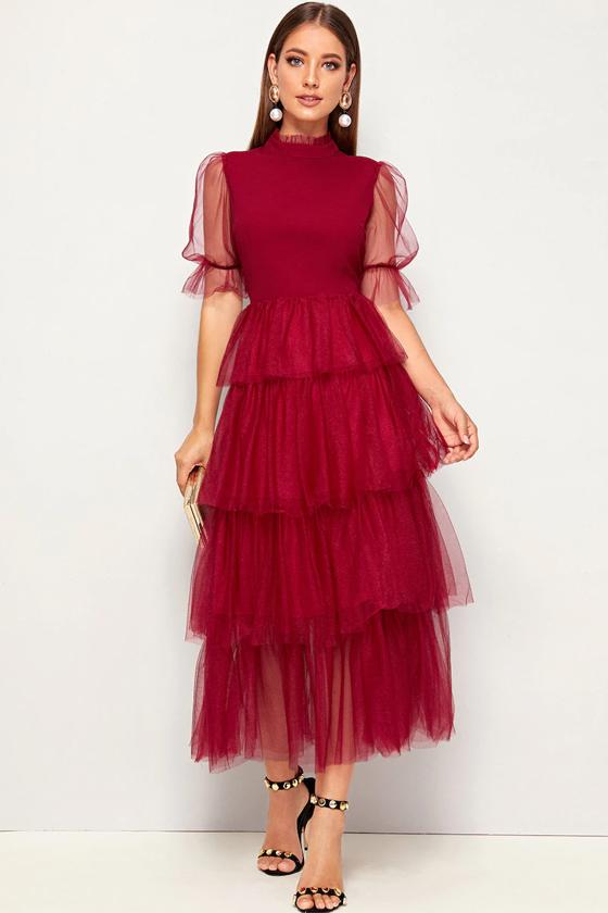 SHEIN Mock-Neck Puff Sleeve Tiered Layered Mesh Hem Dress