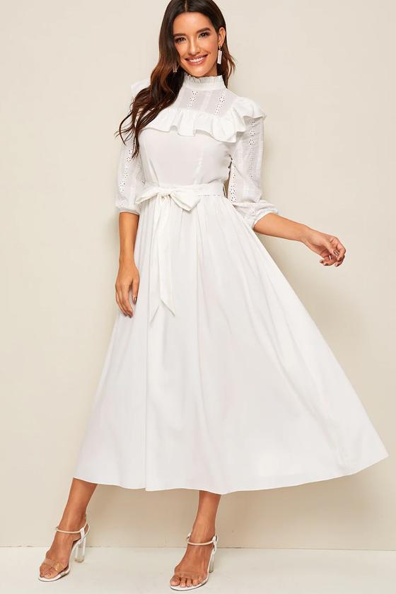 SHEIN Mock-Neck Ruffle Trim Self Belted Dress