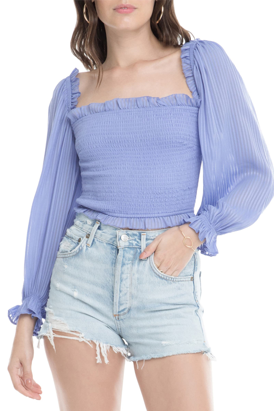 ASTR The Label Smocked Balloon Sleeve Top