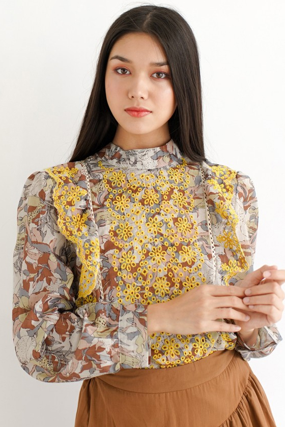 Chicwish Bright and Bold Floral Smock Top